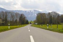 Asfaltowa droga między polami w Szwajcarskich Alps Obraz Royalty Free