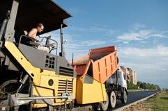 asfaltowe naprawiania drogi pracy fotografia stock