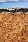 asfaltowego przecinającego trzęsienia ziemi podkopowa drogowa sekcja obrazy royalty free