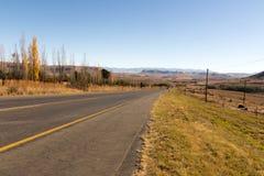 Asfaltowej drogi bieg Przez Suchego zima krajobrazu w Południowym Afric Obraz Stock