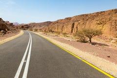 Asfaltowej drogi pustynia Zdjęcia Royalty Free
