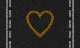 Asfaltowy tło z malującym sercem obraz stock