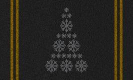 Asfaltowy tło z płatkami śniegu Obraz Royalty Free