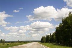 Asfaltväg till och med fält som lämnar till moln och horisonten Royaltyfri Fotografi