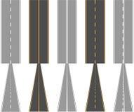 Asfaltvägar, med trafikyttersidamarkeringen fodrar stock illustrationer