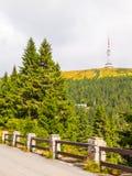 Asfaltvägen som leder till TVsändaren, och utkik står högt på toppmötet av det Praded berget, Hruby Jesenik, Tjeckien Arkivbilder
