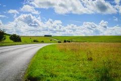 Asfaltvägen till och med det gröna fältet och blå himmel fördunklar Arkivfoton