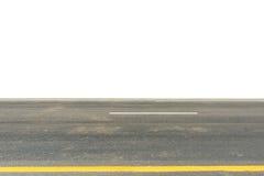 asfaltweg die op wit wordt geïsoleerd Stock Foto