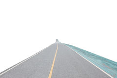 Asfaltweg en hometrainerweg die op witte achtergrond wordt geïsoleerd Stock Afbeeldingen