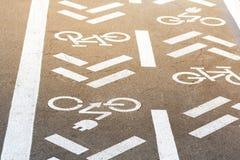 Asfaltweg met fiets en elektrische vervoersteeg Cyclus en emissieloos voertuigen wit teken op vloer Recreatiegebied voor g stock foto