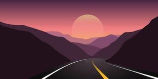 Asfaltweg tussen de bergen bij het landschap van de zonsopgangreis stock illustratie