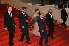 Asghar Farhadi,  Taraneh Alidoosti, Shahab Hossein. Asghar Farhadi,  Taraneh Alidoosti , Shahab Hosseini attend the 'The Salesman Forushande' during the 69th Royalty Free Stock Image