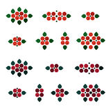 Ash berry decorations. Set - illustration Royalty Free Stock Image