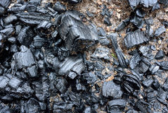 Ash of burned coal after fire. Ash content of burned coal after barbecue Stock Photos