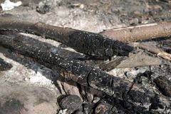Ash. And burnt wooden log in the fireplace Stock Photo