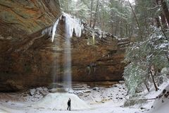 Ash Cave in Winter Royalty Free Stock Photography