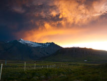 Ash cloud. Spreading out in the sunset from the eruption in Grimsvotn Iceland Stock Photography