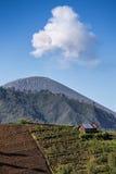 Ash cloud rising at Semeru Volcano Mountain Stock Photography