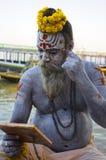 Ash Covered Sadhu 2. A Hindu Sadhu with his body covered in Ash, in Varanasi, India Stock Images