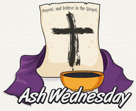 Ash Cross in Scroll, Stole and Bowl for Ash Wednesday, Vector Illustration stock images