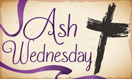 Ash Cross Sprinkled in Ancient Scroll for Ash Wednesday, Vector Illustration Stock Image