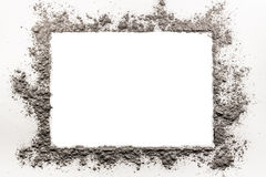 Ash, dirt, dust, sand frame on a white background Royalty Free Stock Photos