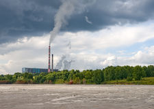 Ash-disposal area. Power plant and ash-disposal area Royalty Free Stock Photography