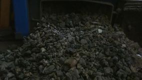 Ash. The ash from an ecological central heating furnace stock video