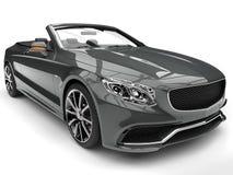 Ash gray modern luxury convertible car - headlight closeup shot Royalty Free Stock Photos