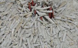 Ash of incense for ancestor on pot Royalty Free Stock Photos