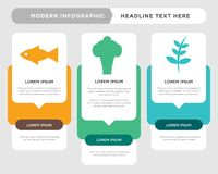 Ash leaf, broccoli, fish infographic. Ash leaf business infographic template, the concept is option step with full color icon can be used for broccoli diagram Stock Photography