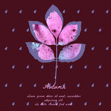 Ash leaf with watercolor pattern for autumn design Stock Photography