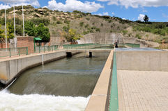 Ash River outfall near Clarens, South Africa. Water from Katse dam in Lesotho is discharged from a tunnel into the Ash river at this point royalty free stock photo