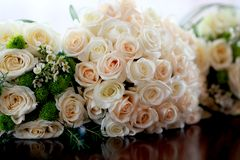 Ash and tea roses bouquets stock photo