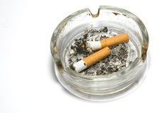 Ash-tray. A flithy glass ash-tray with two cigar-butts Stock Photography