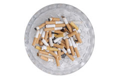 Ash Tray with Cigarette Butts. On a white background Royalty Free Stock Photography