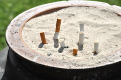 Ash Tray Cigarettes Outdoor Sand Stock Images