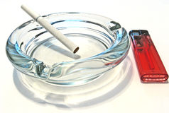 Ash tray cigarrette lighter Stock Image
