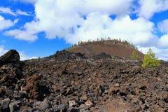 Ash Volcano et Lava Bed en monument national de Newberry, Orégon images libres de droits