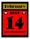 2018 Ash wednesday calendar icon Royalty Free Stock Image