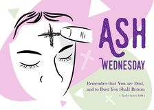 Ash Wednesday, christianity. Vector illustration. Ash Wednesday abstract symbolic religious Christian symbol for the beginning of Lent, with cross of ashes royalty free illustration