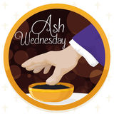 Ash Wednesday Design with Button, Priest Hand and Blessed Ashes, Vector Illustration. Round button with priest hand taking the blessed ashes from a golden bowl Royalty Free Stock Images