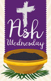 Ash Wednesday Design with Cross, Purple Stole, Bowl and Palms, Vector Illustration. Poster with traditional Ash Wednesday elements: bowl filled with blessed Stock Photos