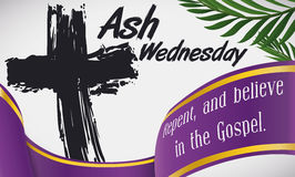 Ash Wednesday Design with Traditional Cross, Palms Branches and Ribbon, Vector Illustration royalty free stock photography