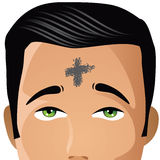Ash Wednesday man with cross of ashes Stock Photos