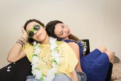 Ash Wednesday Vänner är trötta av att fira Carnaval Gi två royaltyfri foto