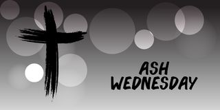 Ash Wednesday. Vector Illustration of a background for Ash Wednesday with Cross Stock Photo