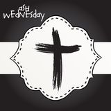 Ash Wednesday. Vector Illustration of a background for Ash Wednesday with Cross Stock Image