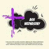 Ash Wednesday. Vector Illustration of a background for Ash Wednesday with Cross Royalty Free Stock Photos