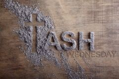 Free Ash Wednesday Word Written In Ash And Christian Cross Symbol As A Religion Concept Stock Photos - 169330423